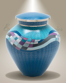 Blue Art Deco Cremation Urn