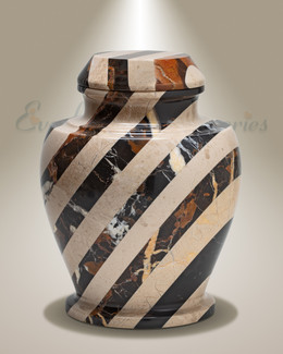 Beige Striped Cremation Urn
