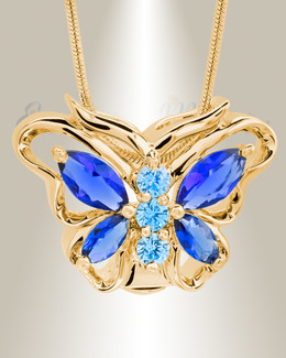 Gold Plated Sparkle Butterfly Memorial Jewelry