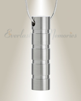 Stainless Carved Cylinder Cremation Jewelry