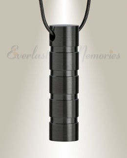 Black Carved Cylinder Cremation Jewelry