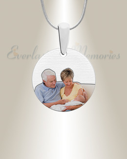 Round Color Photo Engraved Stainless Keepsake