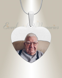 Heart Color Photo Engraved Stainless Keepsake