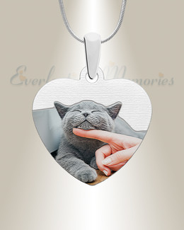 Heart Pet Color Photo Engraved Stainless Keepsake