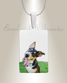 Rectangle Pet Color Photo Engraved Stainless Keepsake