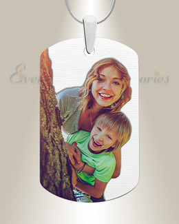 Large Dog Tag Color Photo Engraved Stainless Keepsake