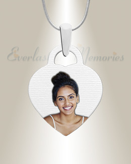 Small Heart Color Picture Engraved Stainless Keepsake