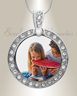 Gem Circle Color Photo Engraved Stainless Keepsake