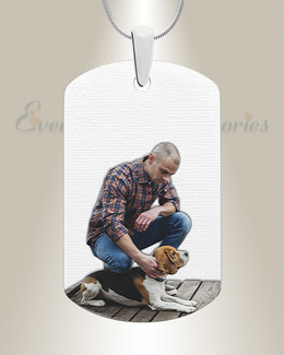 Pet Large Dog Tag Color Photo Engraved Stainless Keepsake