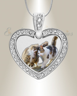 Pet Gem Heart Color Photo Engraved Stainless Keepsake