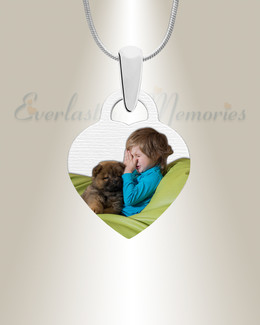 Pet Small Heart Color Photo Engraved Stainless Keepsake