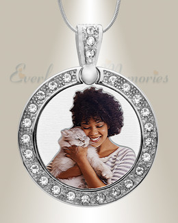 Pet Gem Circle Color Photo Engraved Stainless Keepsake