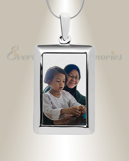 Silver Portrait Color Photo Rectangle Pendant