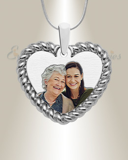 Silver Portrait Heart Color Photo Pendant