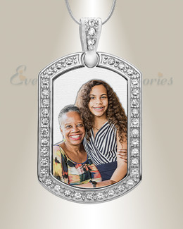 Jeweled Portrait Dog Tag Color Photo Pendant