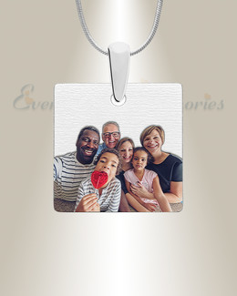 Silver Squared Color Photo Engraved Pendant