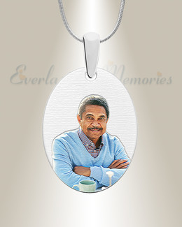 Silver Circular Color Portrait Photo Pendant