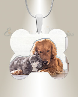 Silver Dog Treat Color Photo Pendant