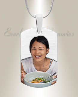 Small Dog Tag Stainless Color Photo Pendant