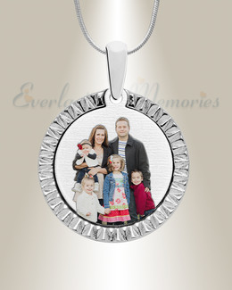 Stainless Textured Round Color Photo Pendant