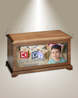 Alphabet Blocks Photo Urn for Ashes