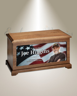 Veteran Flag Cremation Urn With Photo