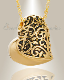14K Gold Tumbling Heart Pendant Keepsake