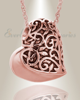 14K Rose Gold Tumbling Heart Pendant Keepsake