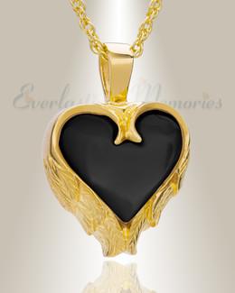 14K Yellow Gold Onyx Innocent Heart Cremation Pendant