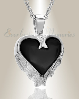 14K White Gold Onyx Innocent Heart Cremation Pendant