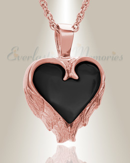 14K Rose Gold Onyx Innocent Heart Cremation Pendant