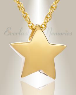 14K Gold Sliding Star Cremation Urn Keepsake
