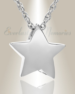 14K White Gold Sliding Star Cremation Urn Keepsake