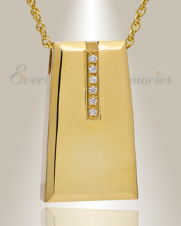 14K Gold Eternity Sliding Rectangle Memorial Locket with Stones