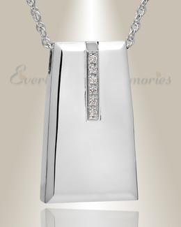 14K White Gold Eternity Sliding Rectangle Memorial Locket with Stones