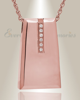 14K Rose Gold Eternity Sliding Rectangle Memorial Locket with Stones