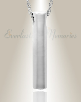 14K White Gold Marley Cylinder Cremation Keepsake