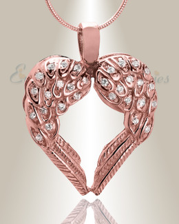 14K Rose Gold Wings of Hope Memorial Jewelry