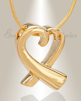 14K Gold Folded Heart Memorial Jewelry