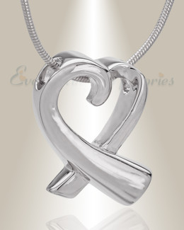14K White Gold Folded Heart Memorial Jewelry