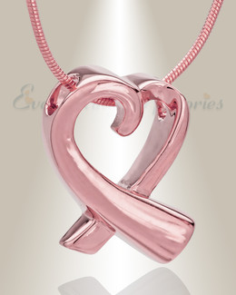 14K Rose Gold Folded Heart Memorial Jewelry
