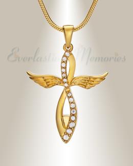 14K Gold Splendor Cross Urn Pendant
