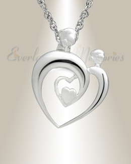 14K White Gold Hearts Memorial Locket