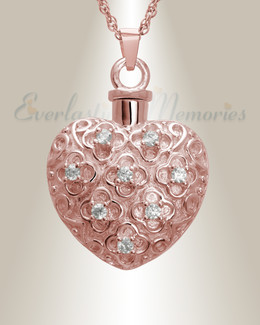 14K Rose Gold Twinkle Heart Jewelry Urn
