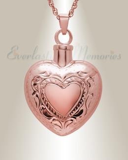 14K Rose Gold Etched Double Heart Cremation Urn Keepsake