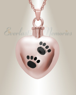 14K Rose Gold Paws on Heart Jewelry Urn