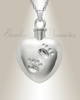 14K White Gold Remember Me Heart Cremation Jewelry