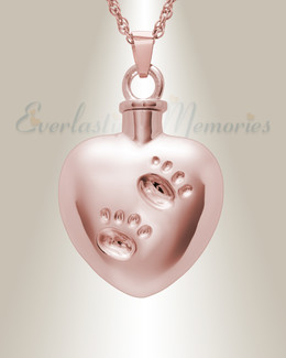 14K Rose Gold Remember Me Heart Cremation Jewelry