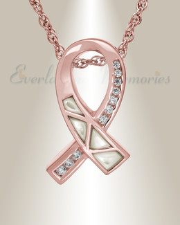 14K Rose Gold Mother of Pearl Ribbon Cremation Charm