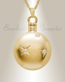 14K Gold Sunburst Cremation Urn Pendant